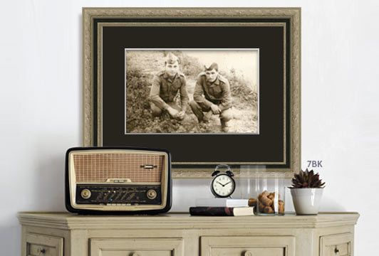 vintage family military photo on black and silver picture frame gift