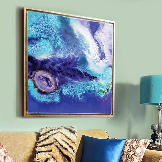 jessica pence abstract art in gold floater frame
