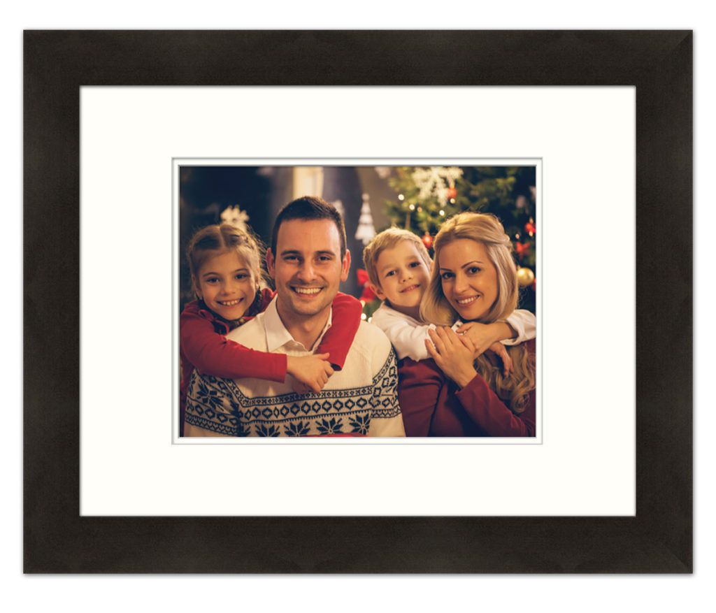 smiling family in modern black frame