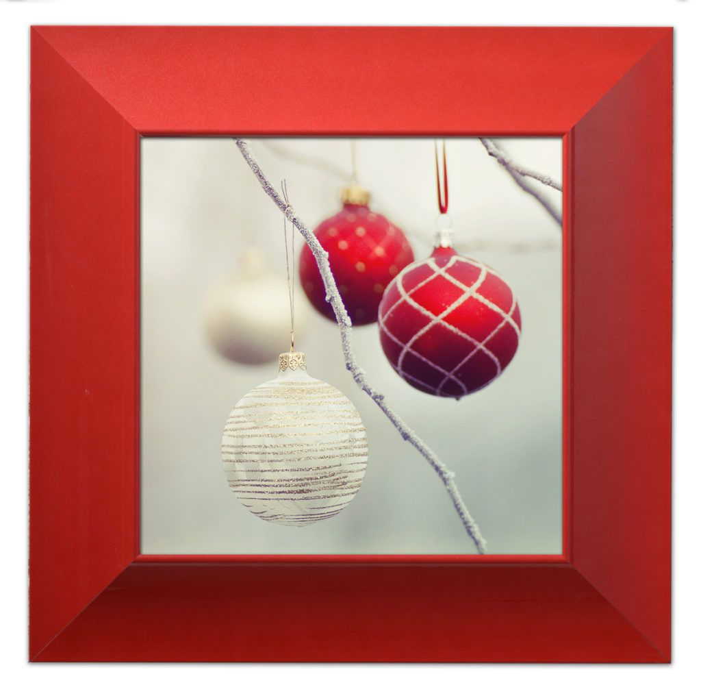 holiday baubles in red picture frame