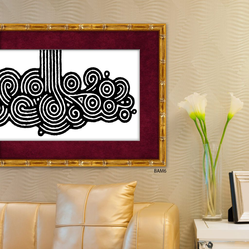 line drawing in suede mat with gold frame